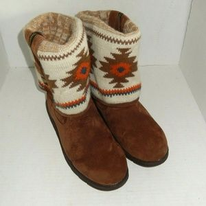 Muk Luks Suede Sweater Roll Top Boots